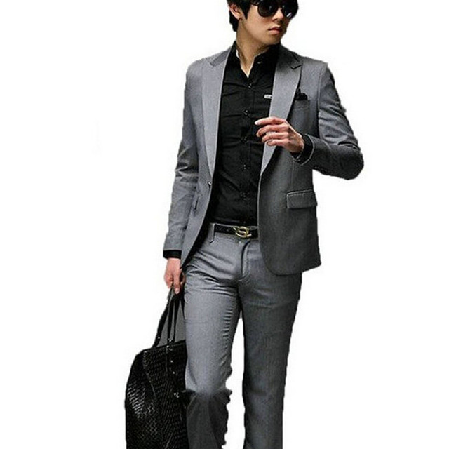 mans new fashion dress a button slimming dark grey mens business casual office suit formal - Business Casual Men Business Casual Attire For Men