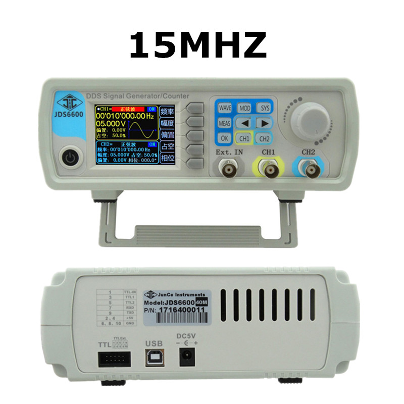 JDS6600 15MHZ Digital Control Arbitrary sine Dual-channel DDS Function Waveform Signal Generator frequency meter 47%off jds6600 series digital control signal generator dual channel dds function arbitrary sine waveform frequency meter 15mhz 46
