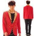 Moda Rojo Bar Discoteca Cantante Traje Masculino de Los Hombres Inglaterra Estilo Botón Cadena de Rendimiento Traje de Los Hombres de la Chaqueta Delgada Ocasional prendas de Vestir Exteriores