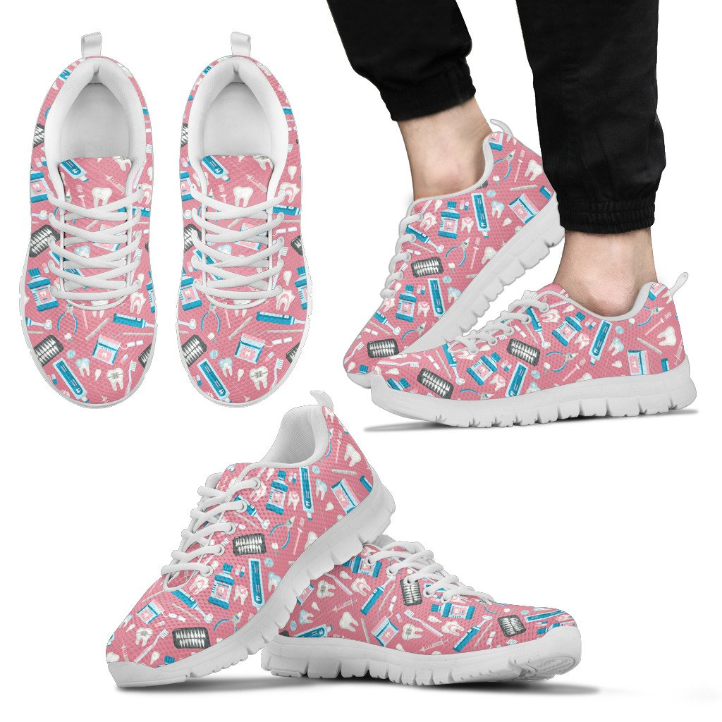 FORUDESIGNS Women Flat Shoes Dental Equipment Print 2018 Summer Sneakers For Woman Breathable Mesh Walking Shoes Pink Black