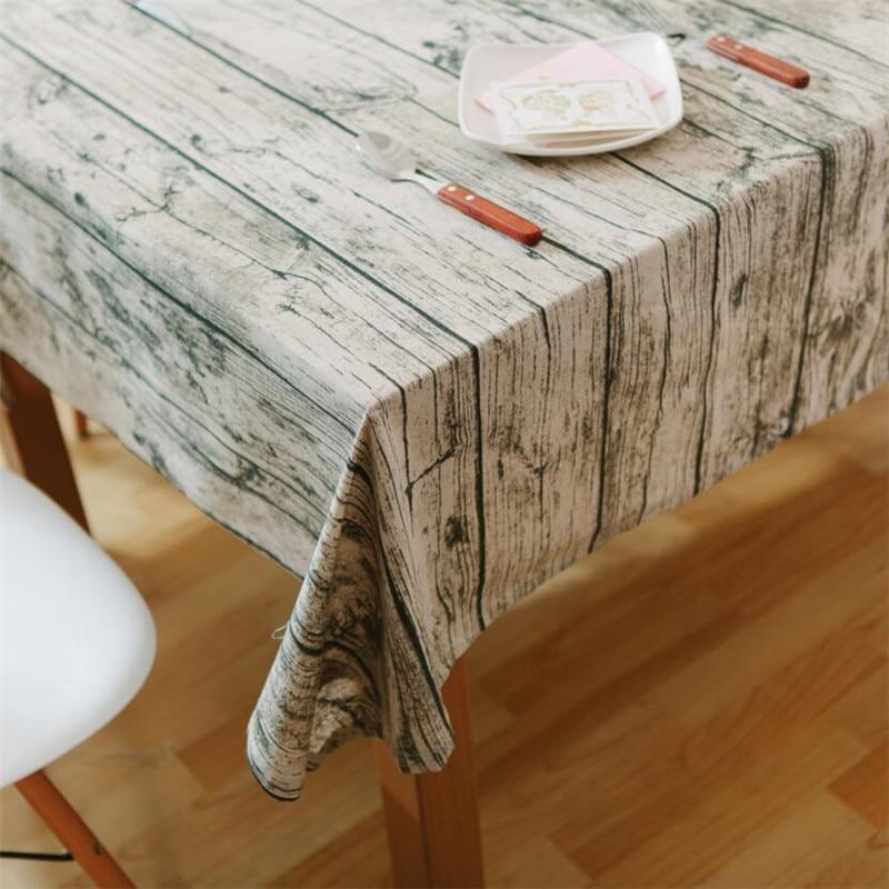 1 pcs imitation bois motif coton lin nappe de mariage partie table de couverture de tissu decoration decoration nappes 44088