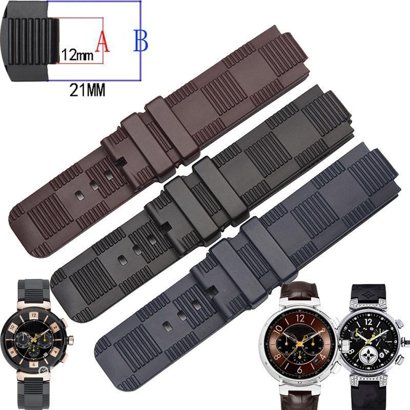 21x12 (interface) MM Black Blue Brown Waterproof Rubber Strap For TAMBOUR IN BLACK   Tambour Men's Quartz Watch Strap