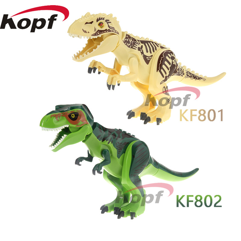 Single Sale Jurassic World Tyrannosaurus Rex Dinosaur Bricks Set Model Building Blocks Children Gift Toys KF801 KF802 single dinosaurs tyrannosaurus rex triceratop pterosauria velocirapto movie mini building blocks toys legoings jurassic world