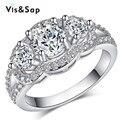 2016 moda jóias banhado a Ouro Branco AAA Cubic zirconia Anéis de Casamento anel de dedo Para As Mulheres Presentes para o amante Bijoux VSR173