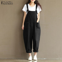 2016 ZANZEA Rompers Womens Jumpsuits Casual Vintage Sleeveless Backless Casual Loose Solid Overalls Strapless Paysuits Plus