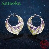 Boucles d'oreilles pour femmes 100% 925 argent Sterling jaune violet feuille d'érable boucles d'oreilles zircon cubique blanc émail de mode