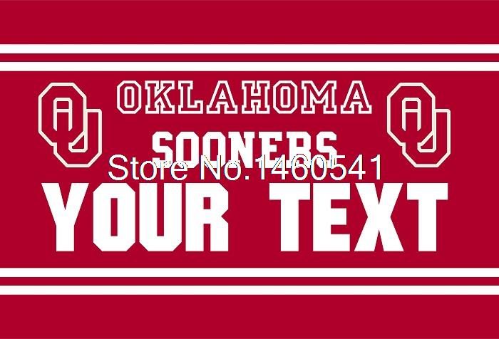 Oklahoma Sooners YOUR TEXT Flag 3ft x 5ft Polyester NCAA Banner Flying Size No.4 144* 96cm QingQing Flag