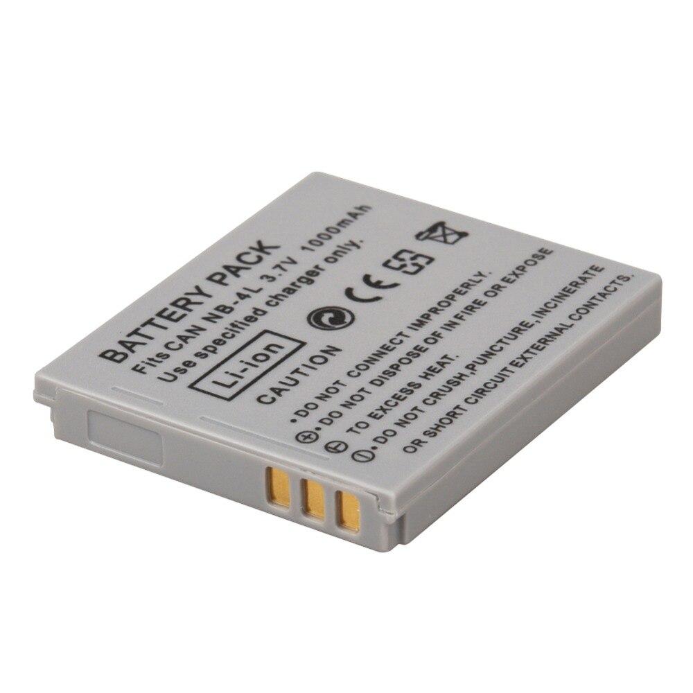 NB-4L NB 4L batería para Canon IXUS 30 40 50 55 60 65 80 100 I20 110, 115, 120, 130 es 117, 220, 225, 230, 255 HS SD780 NB4L 1000 mAh
