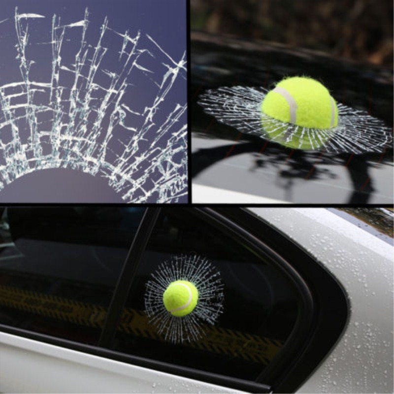 Auto Car-Styling 3D Tennis-Hit-Glasses Funny Sticker Decal Windshield Yellow 1pc