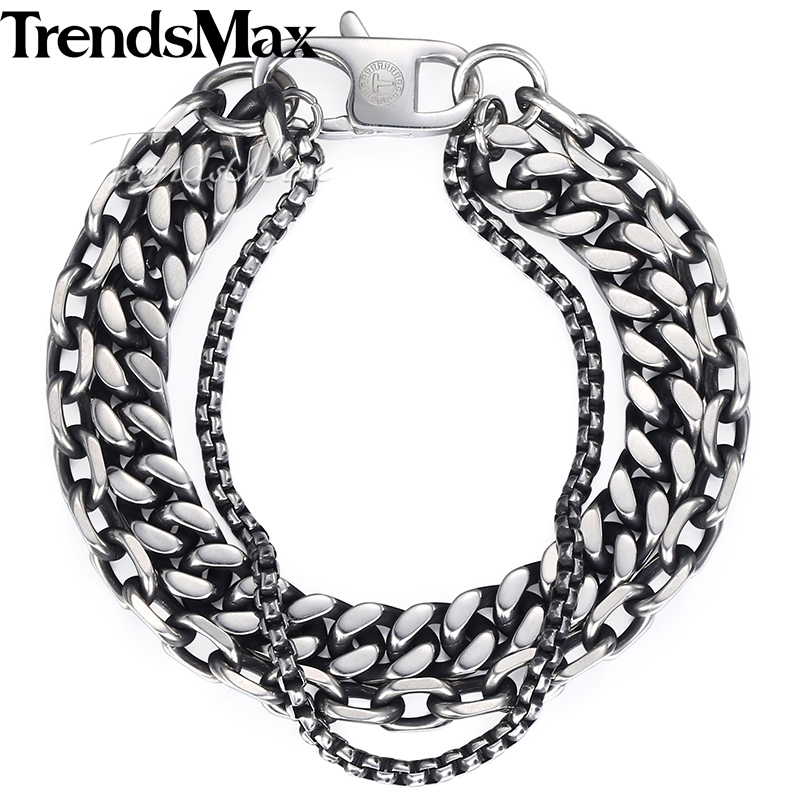 Trendsmax 3 Chain Box Cut Curb Cuban Cable Link Men's Bracelet Stainless Steel Gunmetal KDB14 trendsmax bracelet for men 316l stainless steel curb cuban link chain bracelet totem knot charm wristband men fashion gift hb10