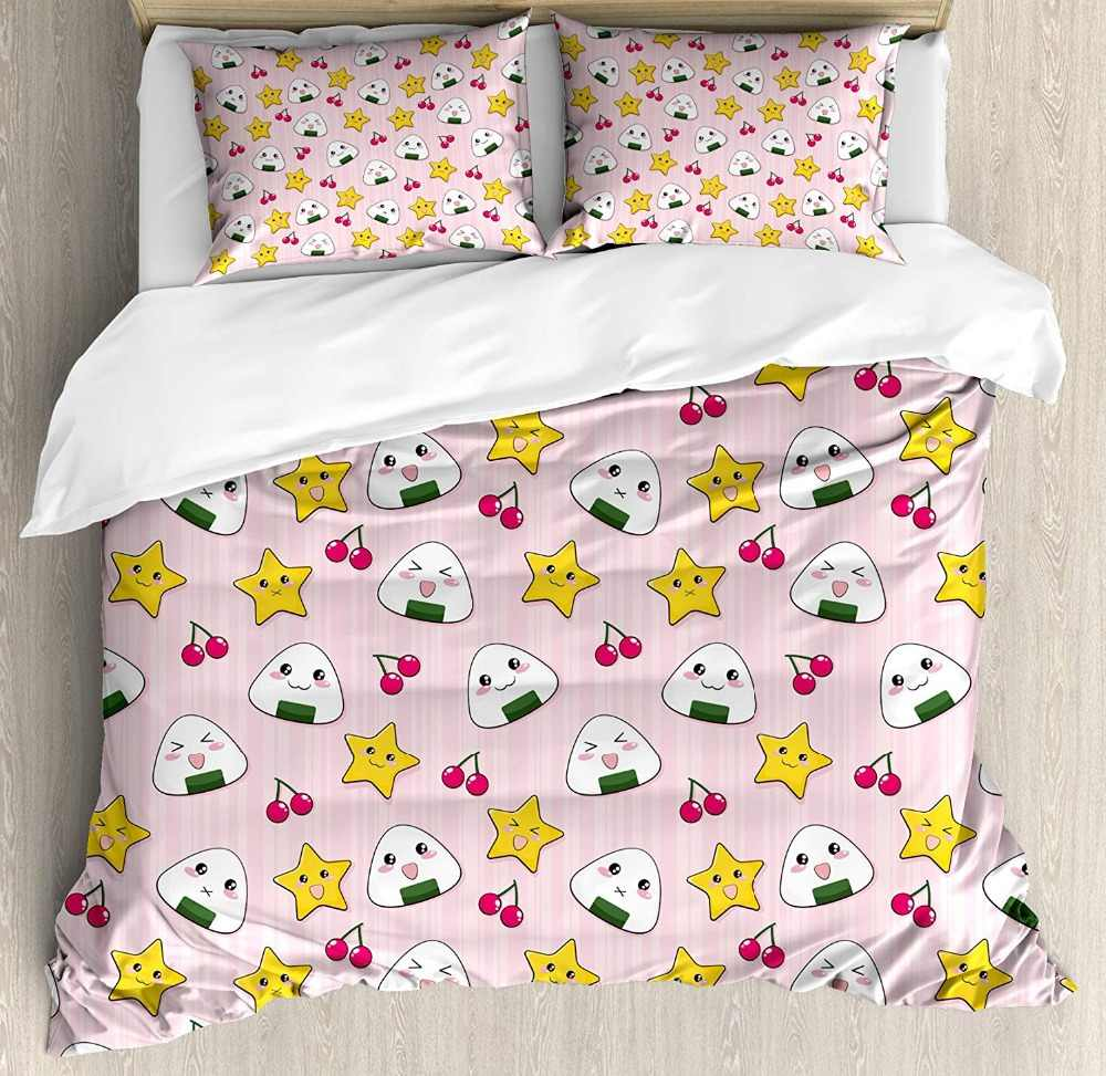 Duvet Cover Set Cute Japanese Food Icons Rice Ball Cherries Asian Kawaii Anime Pattern Design Decorative 4 Piece Bedding Set