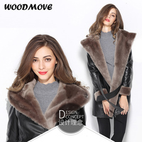 2018 Women Natural Genuine Leather Jacket Ladies Shearling Hooded Wool Jackets Adjustable Waist Winter Real Leather Coats