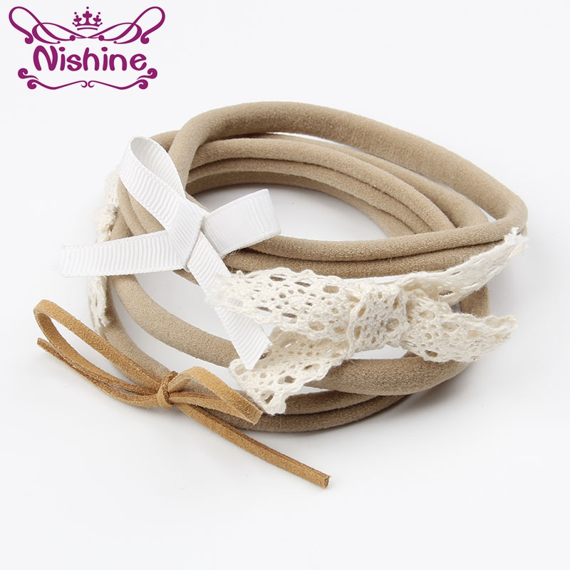 Nishine 4pcs set Fashion Newborn Spandex Nylon Headband Children Skinny Stretchy Non Marking Lace Bowknot Girl Hair Band in Hair Accessories from Mother Kids