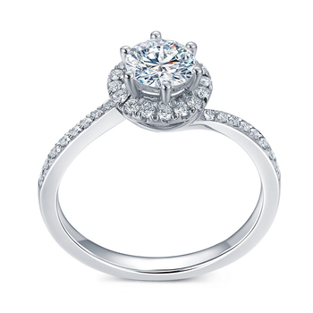14k Solid White Gold  0.3 ct Round Cut Natural Diamond Engagement Ring  2