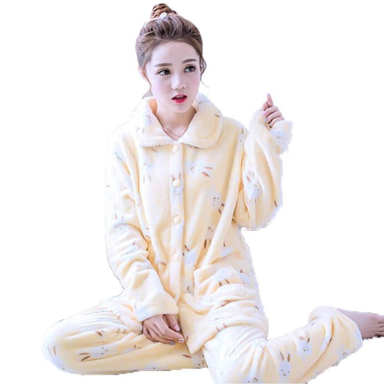2019winter new   pajamas     set   for women coral fleece cardigan + trousers 2 piece home clothing suit warm thick flannel pijama mujer