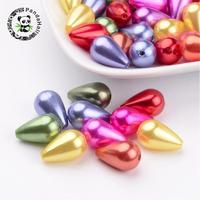 Imitation Pearl Acrylic Beads, ABS, Drop, Mixed Color, 16x10mm, Hole: 1mm; about 600pcs/pound