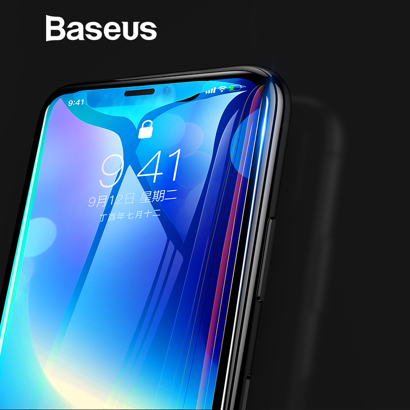 Baseus 0,3mm 7D superficie Protector de pantalla para iPhone X vidrio 9 H Delgado Anti-Luz Azul vidrio templado para iPhone cristal protector de X