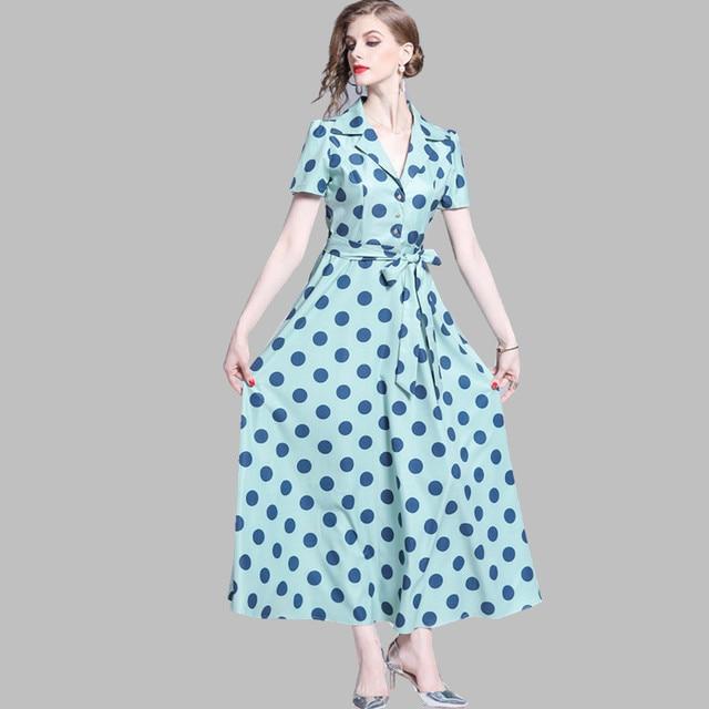 ef5cc721c2865 HAMALIEL Vintage Short Sleeve Maxi Women's Dress Summer Dot Print Notched  Collar Long With Belt Vestidos Elegant Shirt