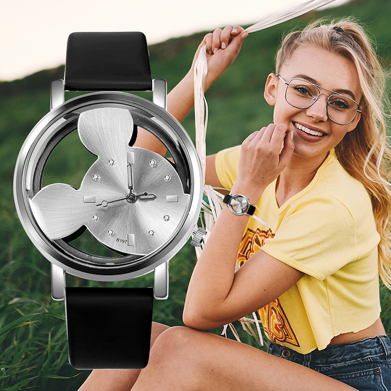 Fashion Mickey Women Watches 2018 Women Dress Watch Casual Transparent Hollow Dial Leather Childen Wristwatch Relogio Feminino