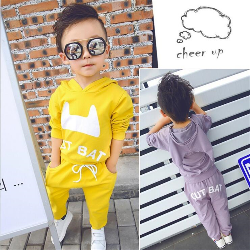 Children Autumn Outfit Suits Two Pieces/Set Long Sleeve Cotton Hooded Tops+ Pants Baby Casual Sports Clothing Sets For 1-6T Kids 2017 brand spring children s boy and girlsclothing sets kids tiger printed two pieces suits cotton toddler outerwear coustme