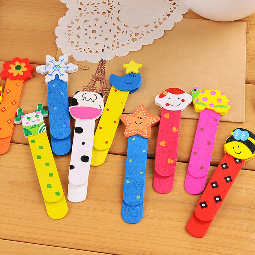 5PCS/Lot Colorful Cartoon Wooden Bookmarks With 7cm Ruler At Back Book Page Holder Marker School Prizes Student Gifts Supply