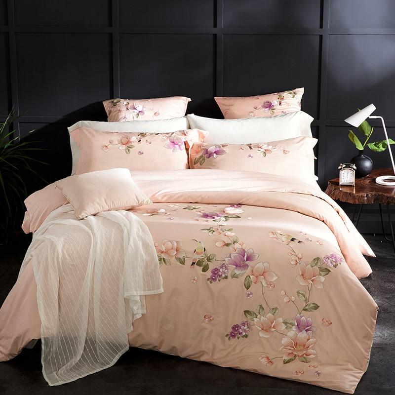 Pastoral floral sólido beige Ropa de cama reina tamaño king Bordado ...
