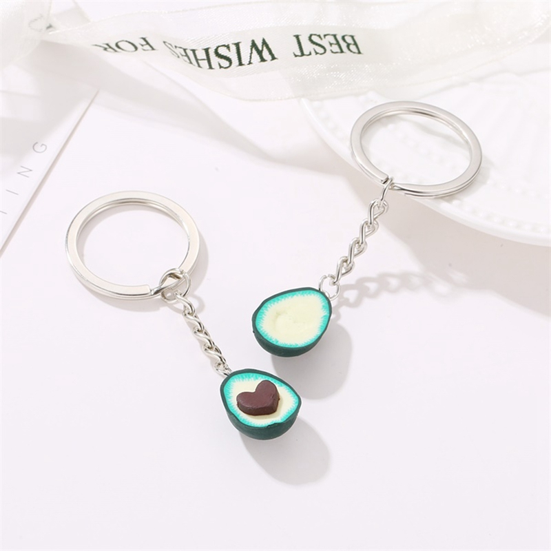 New Creative Green Color Avocado Keyrings Best Friend Keychains Fruit Soft Pottery Jewellery Gift