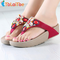 ToLaiToe New Women Sandals Fashion Retro Beaded Flowers Summer Cool Sandals Wedges Flip Flops Platform Beach Slippers Shoes