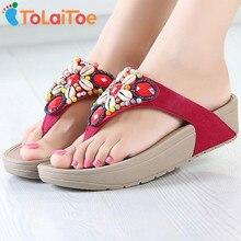 Tolaitoe новые сандалии женщин моды ретро бисером цветы лето прохладное сандалии клинья флип-флоп платформы пляжные тапочки обувь