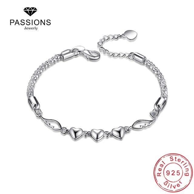 Newest Fashion Heart Wing Bracelet Chain 925 Sterling Silver Angel Charm Pendant Bracelets For Women Jewelry Gift In