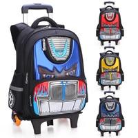 Latest Removable Trolley Schoolbag Children Cartoon School Bags 6 Wheels Can climb Stairs Kids Girls Boys Luggage Book Bag