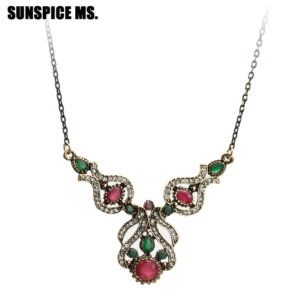 4056 Indian Bridal Jewelry Bollywood New Necklace Ethnic: New Ethnic Turkish Women Pendant Necklace Antique Gold