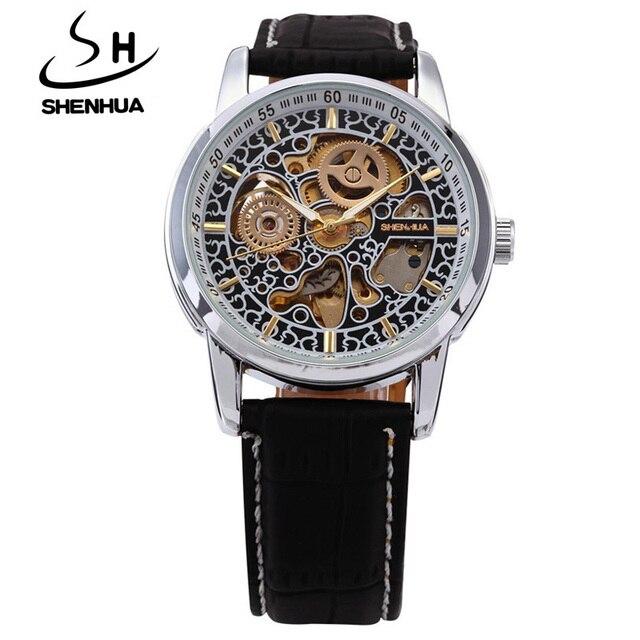 319de2a844c Shanghai shenhua relogio masculino engrenagem esqueleto automático de auto  de vento relógios homens top marca de