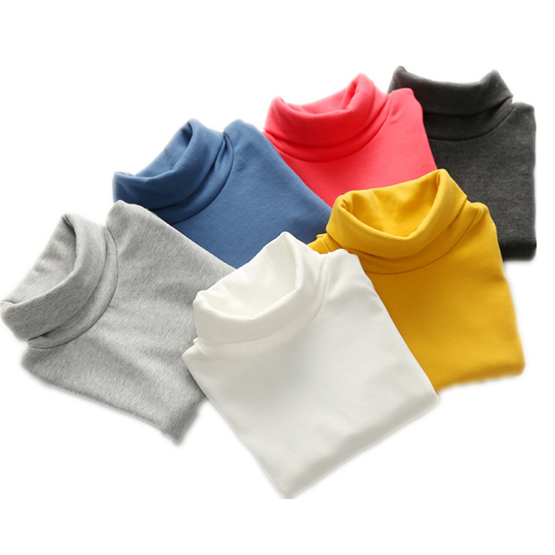 Autumn Winter Kids Turtleneck Children Sweater 10 Solid Colors Girls Sweater Boys Pullover Basic Shirt 2-10 years