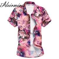 Men Pink Hawaiana Shirt 2018 Summer Short Sleeve Floral Print Large Size 5XL 6XL 7XL Slim