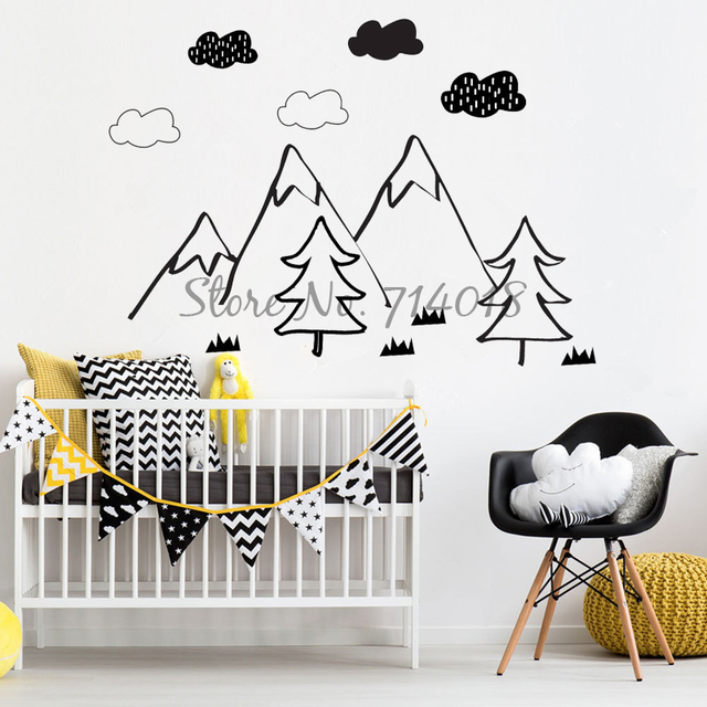 Woodland wall sticker for kids room nordic mountain scene wall decal vinyl decor stickers home decoration