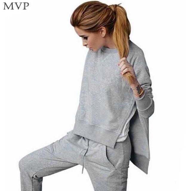 Fanala ternos fatos de treino mulheres camisola tops + calças primavera outono sólida camisola definir hoodies manga longa trajes com calças