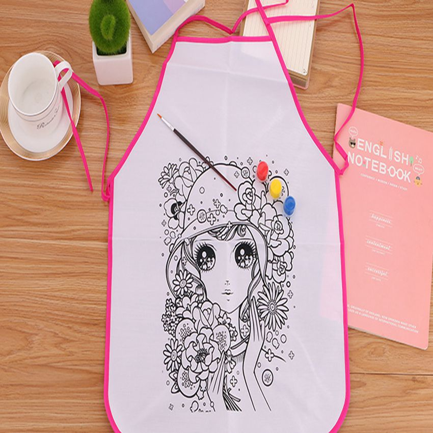 April Du Hand-painted DIY blank apron smock Kindergarten childrens handmade doodle paint ...