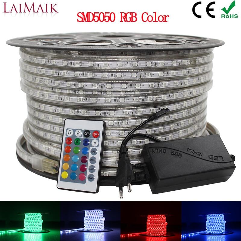 LAIMAIK RGB LED de luz de tira de 5050 impermeable IP67 AC 220 V rgb luces 60 leds/m 5050SMD con controlador inalámbrico macho iluminación led