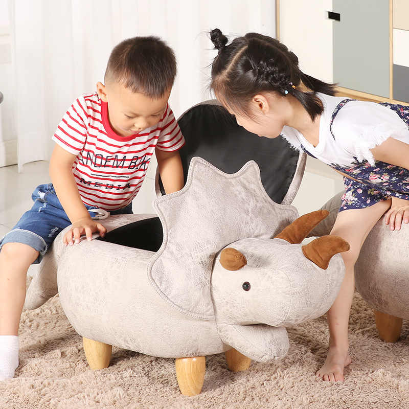 Деревянный гостиная мебель табуретка для животных Детские динозавры остоманы диван хранения, содержащий коробку табуреты домашний стул деревянный стул