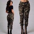 Nuevo Ejército Moda Mujer Pantalones Ocasionales Femeninos Pantalones de Mezclilla Apretados Elásticos de la Alta Cintura Lápiz Pantalones de Camuflaje Militar de Las Mujeres