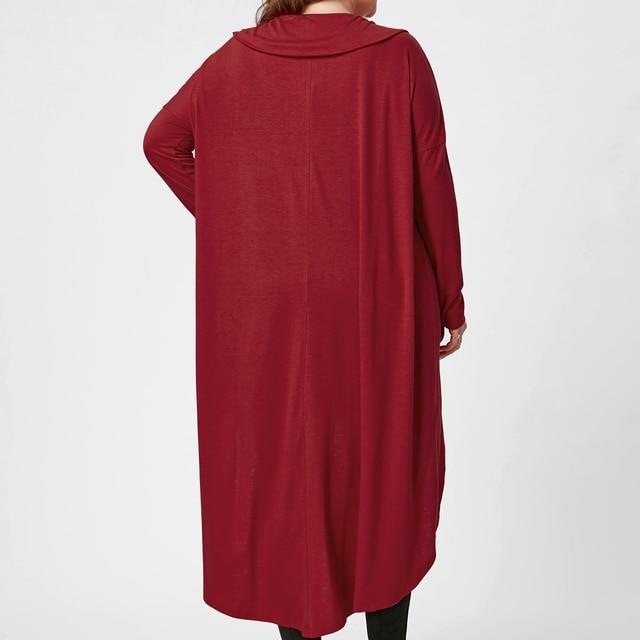 Plus Size Irregular hem Long Sleeves Casual Cotton Dresses Ladies Womens Autumn Lagenlook Solid Color Tunic Dresses 1
