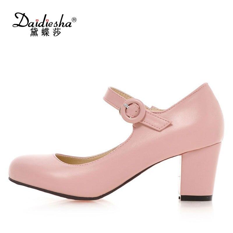 Daitifen 2018 новая весна осень сплошной лаконичный толстые туфли на высоком каблуке симпатичные круглый носок Свадебные дамы Пряжка ремень женщин насосы