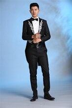 Latest Coat Pant Design Black Pattern Costume Tailcoat Men Suit Slim Fit 2 Piece Cheap Show Blazer Stage Tuxedo Terno Masculino