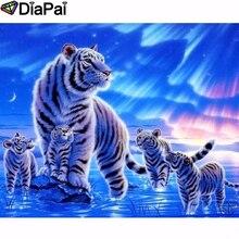 DIAPAI Diamond Painting 5D DIY 100% Full Square/Round Drill Animal tiger Diamond Embroidery Cross Stitch 3D Decor A24701 diapai 5d diy diamond painting 100% full square round drill animal cat tiger diamond embroidery cross stitch 3d decor a22099