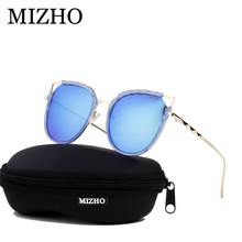 MIZHO Brand Original Shine Driving Polarized Sunglasses For Women Cat eye Mirror UV Traveling Colored Sun Glasses Clear Visual