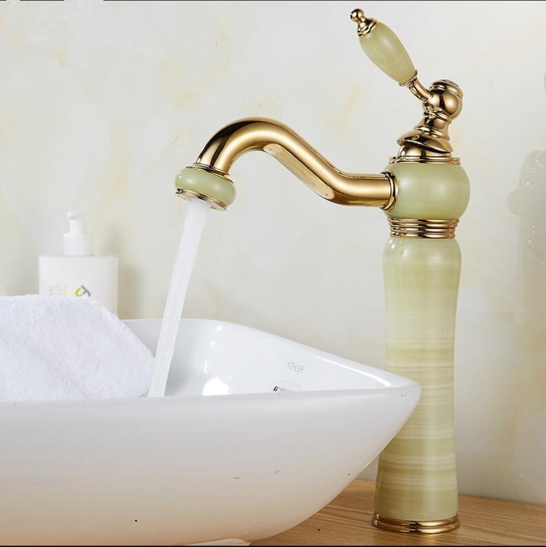 Basin Faucet Gold Crane Brass Jade Body 360 Degree Swivel Bathroom Basin Faucet Deck Mount Counter top Water Mixer Tap basin faucet golden brass jade body 360