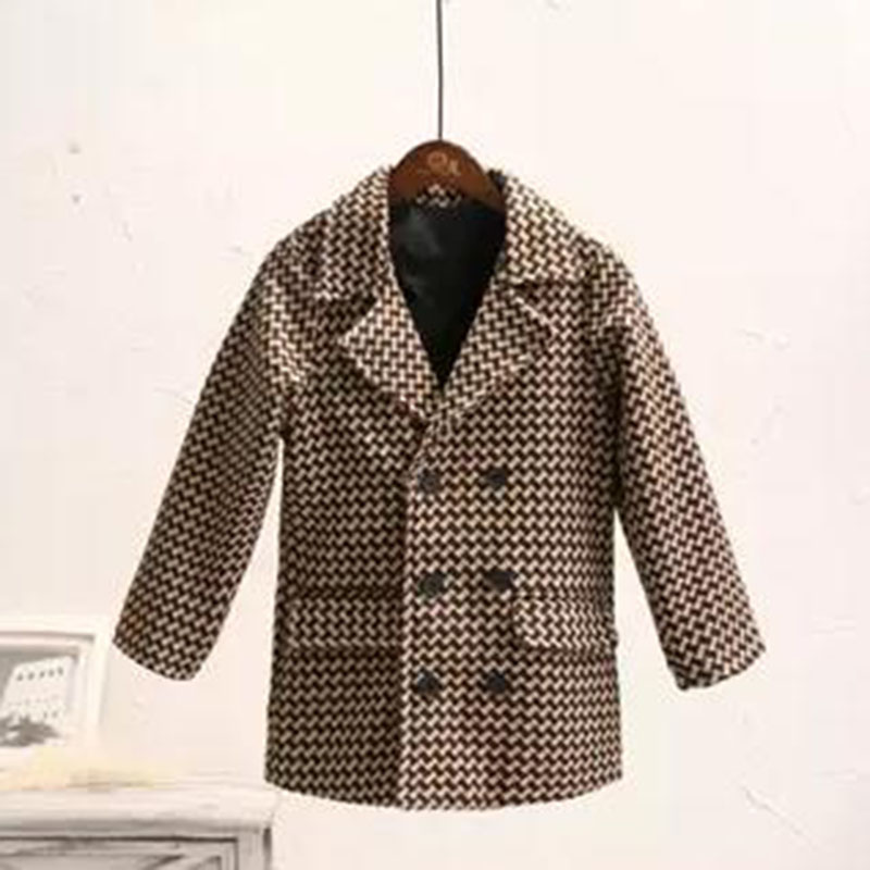Autumn and winter new boys fashion plaid thickening elegant woolen coat double-breasted woolen coat quilted cotton warm winter women woolen winter trench double button coat