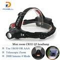 Mini Zoomable LED Headlamp Rechargeable Headlight CREE XML Q5 Flashlight Head light waterproof 18650 OR AAA hunting Camp Fishing