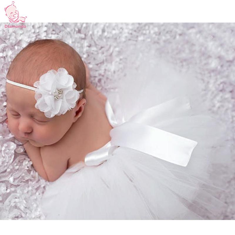 2pcs/set Baby Handmade Crochet Costume Princess Tutu Skirt+Beanie Beaded Flower Headband Baby Dress Set Newborn Photography Prop